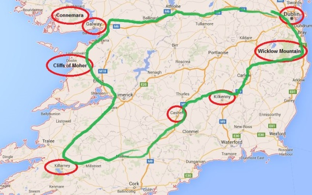 Roadtrip Ireland map route